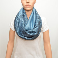 Ice Blue Infinity Scarf with floral pattern - Nursing Cover - Nursing Scarf -Nursing Cover Scarf