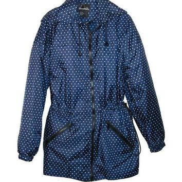 MDIGYW3 ShedRain Packable Fashion Anorak Rain Jacket Bitty Blue Dots