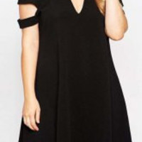 Black Plus Size Cut Out Short Sleeve Dress