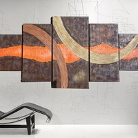 View: XXXL ABSTRACT PAINTINGS 100x250x4 cm OOAK rusty iron hot orange LARGE paintings OFFICE decor original abstract art big ready to hang painting acrylic on stretched canvas metallic textured glossy wall art by artist Ksavera | Artfinder