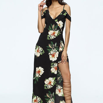 Boho Floral Print Cold Shoulder Split Tie V-neck Maxi Dress For Women