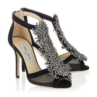 Black Suede and Mesh Sandals with Beaded Detail | Feline | Autumn Winter 14 | JIMMY CHOO Shoes