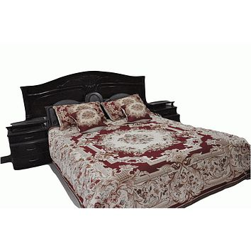 Tache 3-5 Piece Plush Chenille Red Rose Spread Bed Spread (DSC0022)