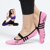Women Cotton Yoga Gym Toe Ballet Non Slip Massage Barre Pilates Dance Socks sports socks