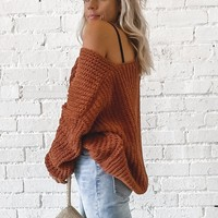 Don't Push It Rust Knit Sweater