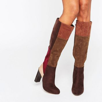 Lost Ink Gypsy Patchwork Heeled Knee High Boots at asos.com
