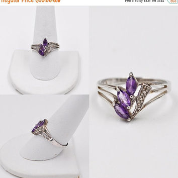 ON SALE Vintage 925 Sterling Silver, Amethyst & Diamond Ring, Three Stone Ring, Marquise Cut, Gemstone, Size 10, A Real Beauty! #b366