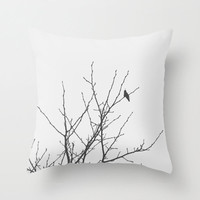 Throw Pillow Cover - Slow Winter - Modern Black and White Decor, Minimalist Photography, Bird and Tree Silhouette, Nature Print