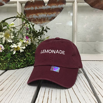 df5b3a45b4b7e LEMONADE Baseball Hat Low Profile Embroidered BURGUNDY Baseball Caps Dad  Hats White Thread