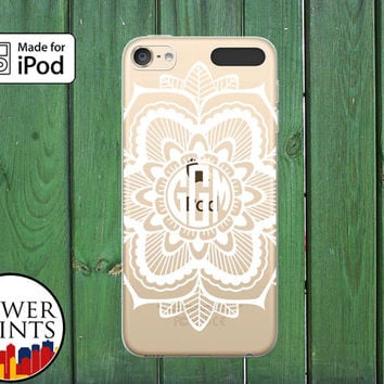 Henna Mandala Monogram White Floral Art Tumblr Custom Clear Case For iPod Touch 5th Generation and iPod Touch 6th Generation iPod 5 iPod 6