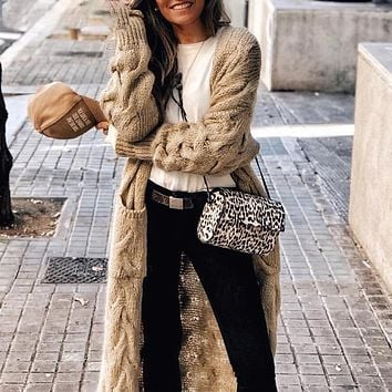 Mohair long cardigan women knitted sweater Long sleeve female cardigans sweater Casual streetwear pull femme