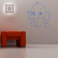 Housewares Wall Vinyl Decal Cartoon Animals Little Funny Baby Elephant Home Art Decor Kids Nursery Removable Stylish Sticker Mural Unique Design for Any Room