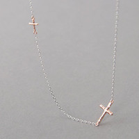 ROSE GOLD TWO HAMMERED CROSSES NECKLACE STERLING SILVER SIDEWAYS CROSS from Kellinsilver.com - Sterling Silver Jewelry Shop
