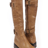 Taupe Faux Leather Buckle Accent Riding Boots