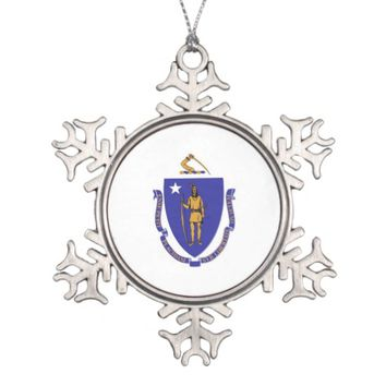 Snowflake Ornament with Massachusetts Flag
