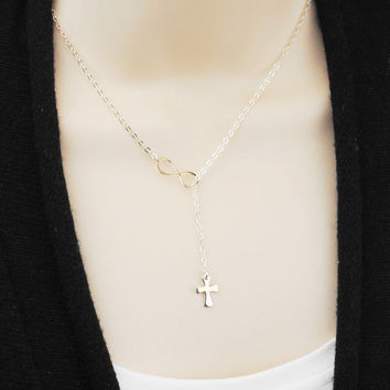 Cross and Infinity Lariat Necklace - Sterling Silver Lariat - Religious Jewelry - Inspirational Necklace - Sterling Silver Jewelry Handmade