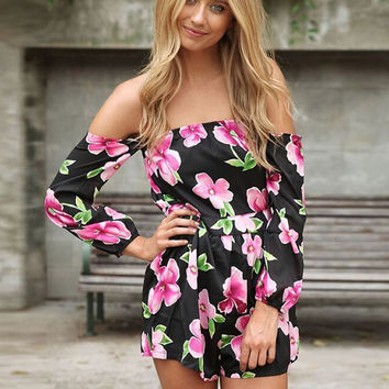 Black Floral Long Sleeve Off-shoulder Romper