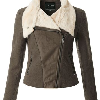 LE3NO Womens Long Sleeve Faux Fur Wool Biker Jacket with Zipper Pockets
