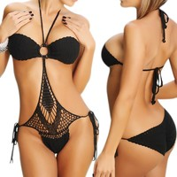 LOCOMO One Piece Scrunch Bottom Style Crochet Bathing Suit BM05 BK Black