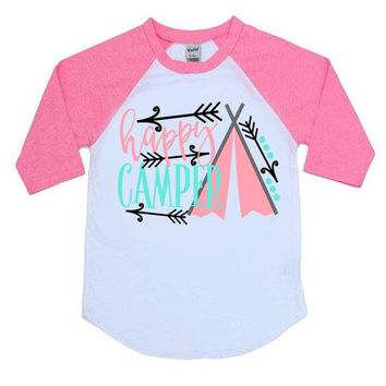 Happy Camper Kids Raglan Shirt