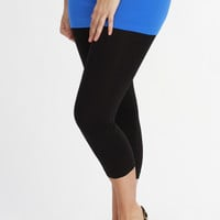 Curvy| Everyday Basic Capri Legging - Black