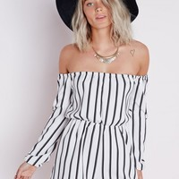 Missguided - Petite Striped Bardot Playsuit White