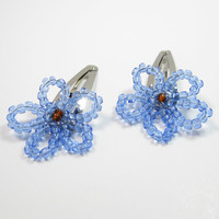 Light Blue Beaded Barrettes - Beaded Flower Hair Clips
