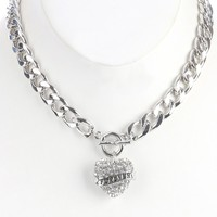 Clear Metal Heart Charm Chunky Chain Bib Necklace