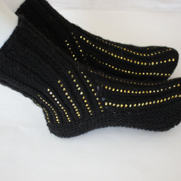 "Brand New Handmade knit Ladies Black with beads Socks - Women's house socks - House fancy socks- 9"" long // Ready to ship"