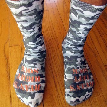 Full Print Camouflage Pattern Custom Socks Personalized  - Adult Unisex Size fits Most