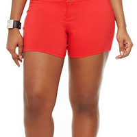 Plus Size Knit Shorts with Zipper Accents