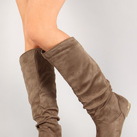 Wild Diva Lounge Kalisa-76 Metallic Heel Knee High Boot