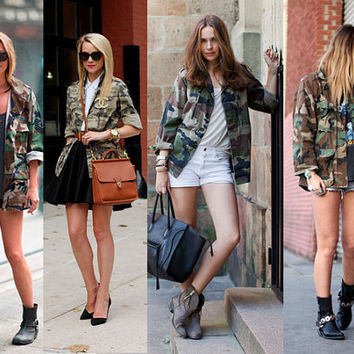Camouflage studded military army jacket size Med by jeansgonewild