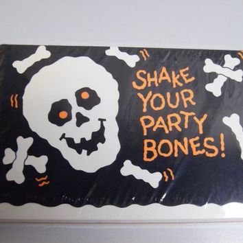 Vintage 80s Halloween Party Invitations Skull Bones Hallmark Cards