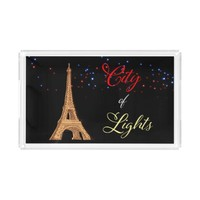 Eiffel Tower City Lights Rectangle Serving Tray