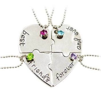 "Special Present Lettering ""Best Friends forever And Ever"" Heart Shape Four Parts Splice Necklace Best Friends Necklace Jewelry"
