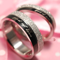"""god of love"" Engagement lover Couples Rings, his and hers promise ring Stainless Steel"