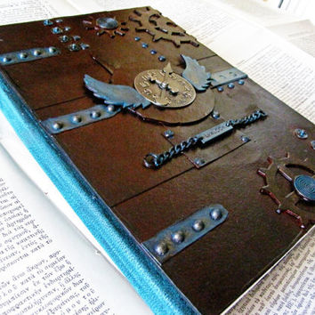 Steampunk handbound  journal / sketchbook/ notebook with 300gsm watercolor paper and a rusty metal look by the journal shop
