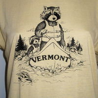 Vintage 80s Vermont THIN Ringer T Shirt Screen Stars RACCOON S