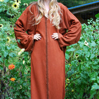 70s Hooded Cloak, Brown Embroidered Caftan, Vintage Hooded Robe, Medevial Ritual Robe, Oversized Maxi Caftan Dress, Halloween Costume