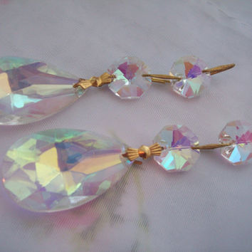 2 Iridescent Chandelier Crystals Teardrop Crystal AB Ornaments Shabby Cottage Chic Aurora Borealis Crystal Prisms