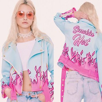 On Sale Hot Deal Sports Jacket Women's Fashion Winter Alphabet Print Waistband Zippers Casual Baseball [72661827599]