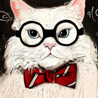 Chemistry Cat stretched canvas print of original oil painting by Aja 16x20 inches