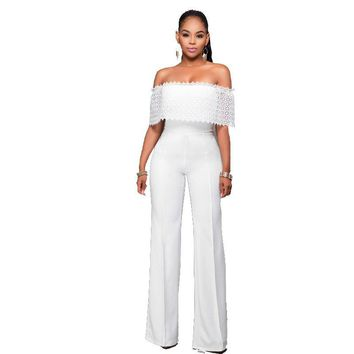 Women African Clothing Sexy Off Shoulder Rompers Jumpsuits Lace Hollow Out Slash Neck Black White Party Long Pants Jumpsuits