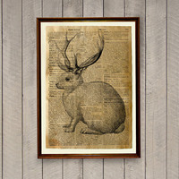 Rabbit poster Jackalope print Native American decor Mythical animal