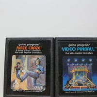 Vintage Atari Video Game ~ Maze Craze ~ Video Pinball ~ 2-Pack 1980s