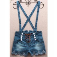 061401 Retro doublebreasted high waist denim overalls by Summershopping on Zibbet