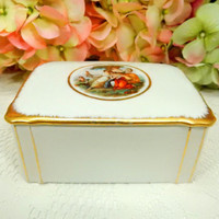 Beautiful Vintage Victoria Czech Porcelain Covered Box ~ Victorian ~ Gold