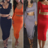 Womens Cocktail Clubwear Party High Waisted Long Sleeve Bodycon Bandage Dress CA