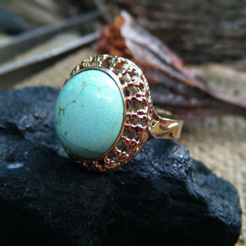 Natural Australian turquoise engagement or statement cocktail ring, OOAK turquoise, conflict free, ecofriendly eco-friendly recycled gold